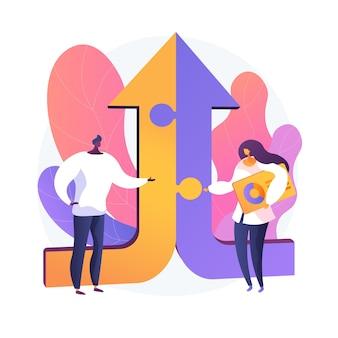 Mitarbeiter zeichentrickfiguren. effektive zusammenarbeit, mitarbeiterkooperation, teamarbeit. kollegen diskutieren lösung. erfolgreiche interaktion. vektor isolierte konzeptmetapherillustration
