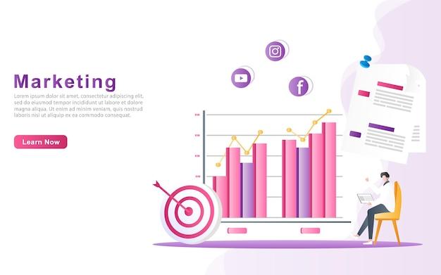 Mitarbeiter zeigt infografiken diagrammdatentabellen analyse illustration