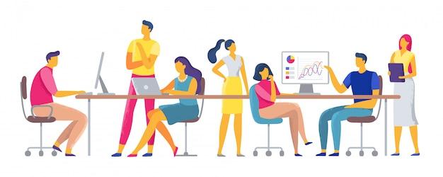 Mitarbeiterarbeitsplatz, team, das im coworking space, in den büroteamarbeitern und in den geschäftskollegen zusammenarbeitet