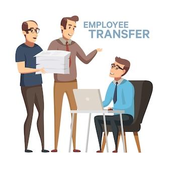 Mitarbeiterersatz. arbeiter umsatz lager illustration im flachen cartoon-stil. wechsel des chefs oder managers von einem mitarbeiter zu einem anderen arbeitsplatz, jobrotation. unfaire entlassung in der wirtschaft.