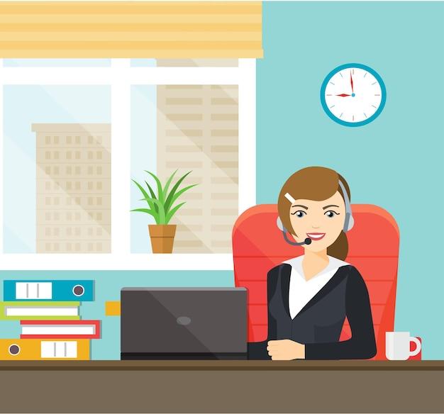Mitarbeiterin mit kopfhörern. vektor-illustration
