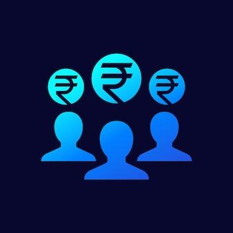 Mitarbeiterkosten, gehaltssymbol mit indischer rupie