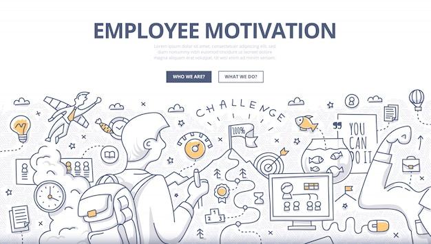 Mitarbeitermotivations-gekritzel-konzept