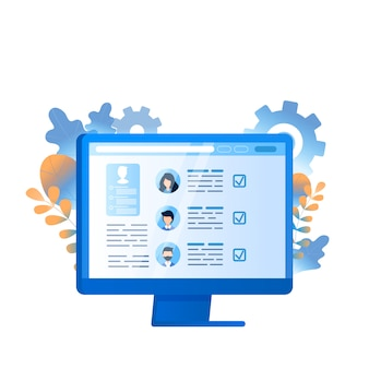 Mitarbeiterrecherche business management auf computer