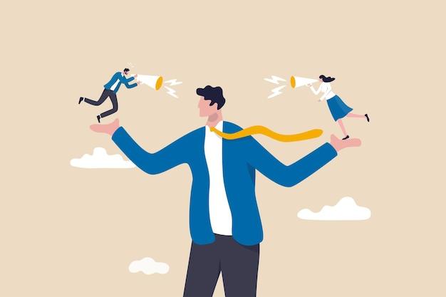 Mitarbeiterstimme, hören sie die meinung oder idee von kollegen, glauben sie an wahrheit, fakten oder lügner-teammitgliedskonzept, geschäftsmann, manager oder chef, der den mitarbeitern zuhört, die auf beiden händen schreien.