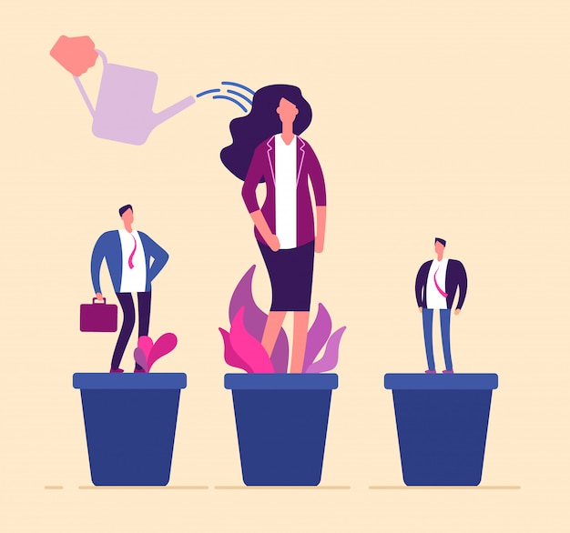 Mitarbeiterwachstum. business-fachleute in der blumentopf-entwicklung trainieren wachsende management-karriere personal