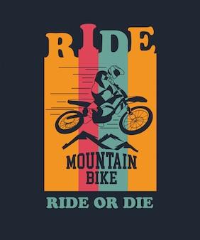 Mitfahrer-mountainbike-vektor für t-shirt design