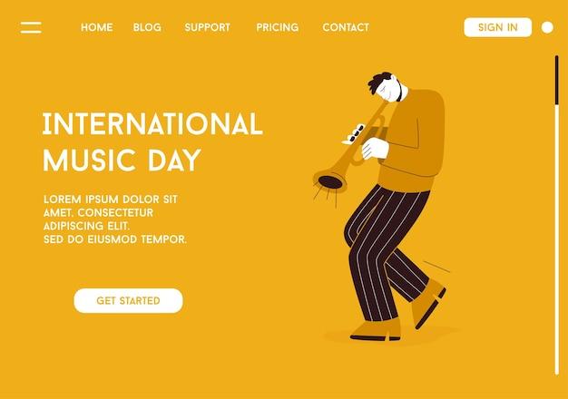 Mitglied der jazzband, das musik beim festival, konzert oder auf der bühne spielt. Premium Vektoren
