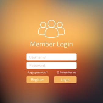 Mitglied log in peach color benutzeroberfläche. melden sie sich im fenster für webelementvorlagen an.