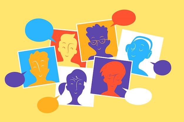 Mitglieder der sozialen gemeinschaft interagieren und teilen inhalte, nachrichten und informationen