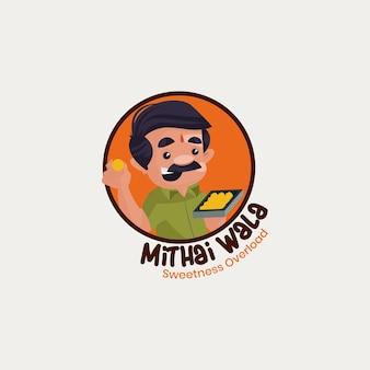 Mithai wala indische vektor-maskottchen-logo-vorlage