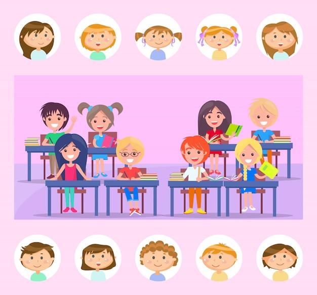 Mitschüler und klassenzimmer, schüler mit buch-vektor