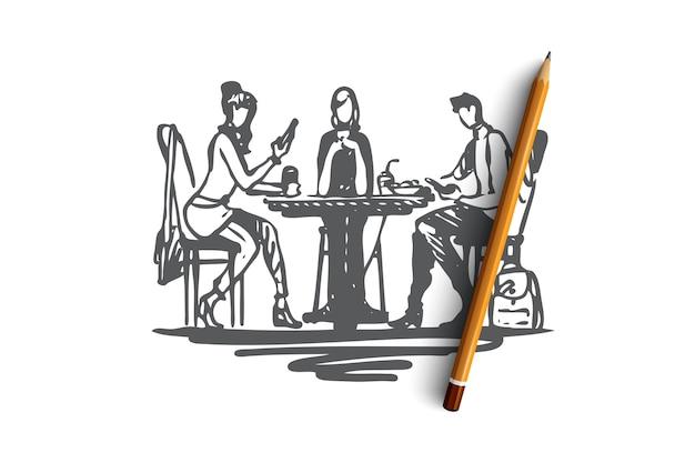 Mittagessen, essen, abendessen, essen, personenkonzept. hand gezeichnete geschäftsleute an der mittagskonzeptskizze. illustration.