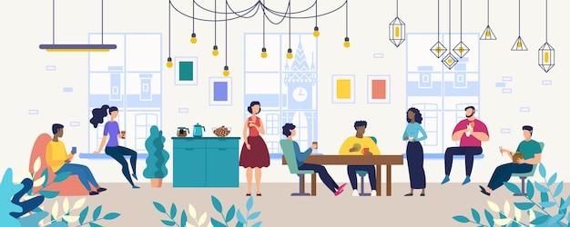 Mittagessen, kaffeepause mit kollegen in gesellschaft