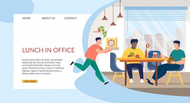 Mittagessen mit informativer inschrift im büro.