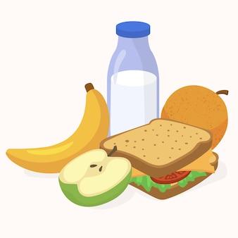 Mittagspause, sandwich und apfel für die schule
