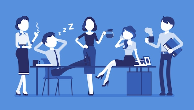 Mittagszeit im büro. ein team junger arbeiter macht während des arbeitstages eine kurze pause, genießt die gemeinsame zeit, trinkt eine tasse kaffee oder tee, plaudert und lächelt. stil cartoon illustration