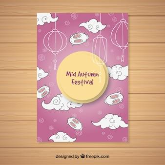 Mitte herbst festival poster mit dem mond am himmel