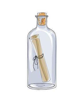 Mitteilung in einem gezeichneten vektor der flasche hand
