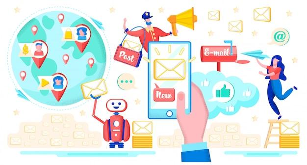 Mitteilung mit e-mail-service-ebenen-vektor-konzept