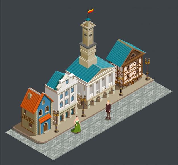 Mittelalterliche architektur isometrische komposition