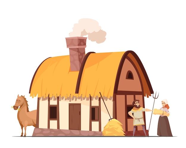 Mittelalterliche bäuerliche haushaltskarikatur