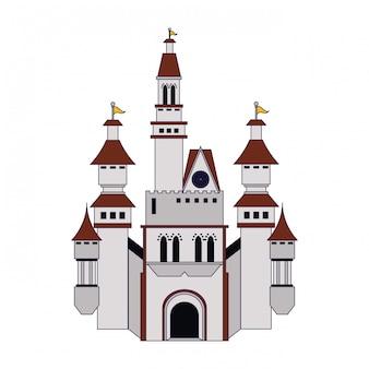 Mittelalterliche burg, die blaue linien errichtet