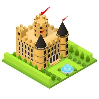 Mittelalterliche burg in isometrischer ansicht