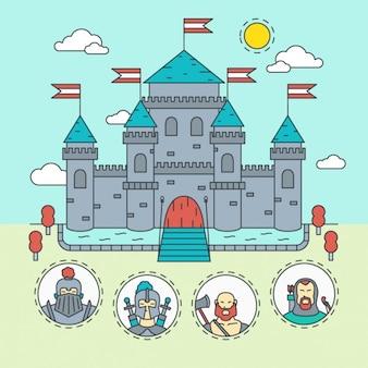 Mittelalterliche burg mit krieger