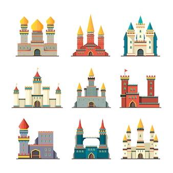 Mittelalterliche burgen. palast turm märchenhafte konstruktionen cartoon gebäude flache burgen bilder