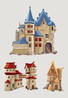 Mittelalterliche burgen und gebäudevektor gesetzt im karikaturstil. fantasiearchitektur mit turmgebäude, königreichsgeschichtenillustration