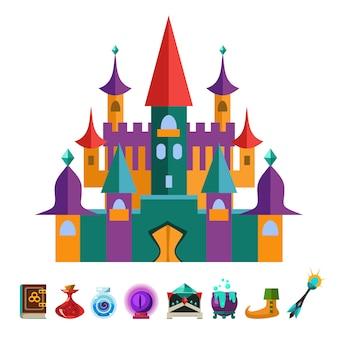 Mittelalterliche festung und elemente für gamesflat illustration