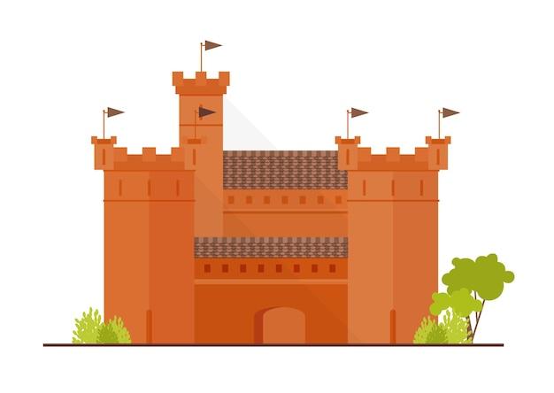 Mittelalterliche festung, zitadelle oder festung mit bollwerk, türmen und bastionen isoliert