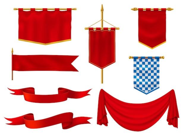 Mittelalterliche flaggen und banner, königlicher stoff in roten und karierten blauen und weißen farben