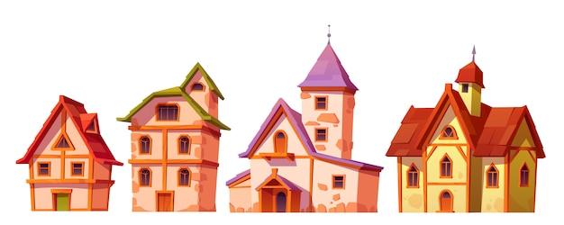 Mittelalterliche gebäude, hausstadtarchitektur gesetzt