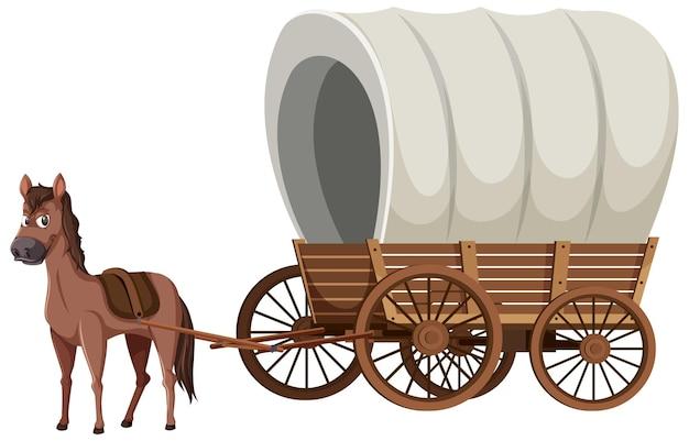 Mittelalterliche holzkutsche mit pferd