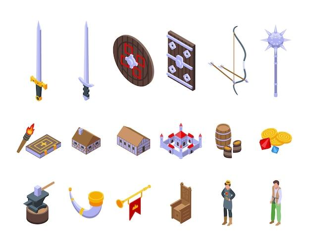 Mittelalterliche ikonen stellten isometrischen vektor ein. geschichte schwert