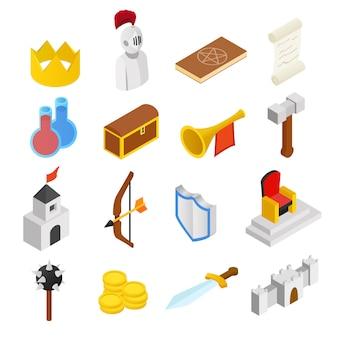 Mittelalterliche isometrische ikonen 3d eingestellt