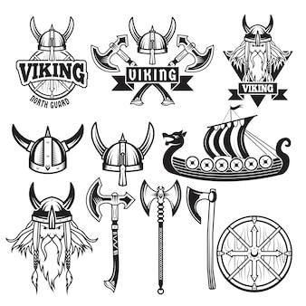 Mittelalterliche krieger und seine waffen. etiketten mit wikingern. stellen sie isolat auf weiß ein