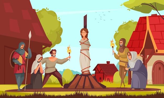 Mittelalterliche menschen hexenkomposition frau, die an pfahlleute gebunden ist, kam zur hinrichtung