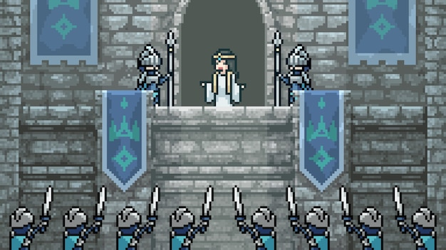 Mittelalterliche prinzessin der pixelkunstszene