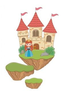 Mittelalterliche prinzessinkarikaturillustration