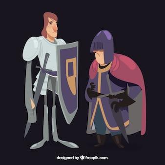 Mittelalterliche ritter im originalstil