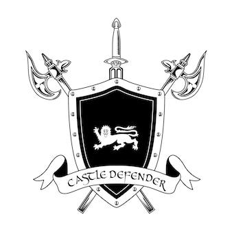 Mittelalterliche ritterwaffenvektorillustration. gekreuzte äxte, schwert, schild und burgverteidigertext. schutz- und schutzkonzept für embleme oder abzeichenvorlagen