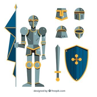 Mittelalterliche rüstung und ergänzungen