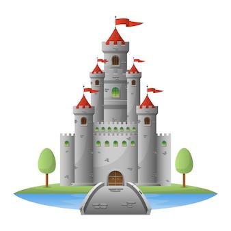Mittelalterliche schlossillustration auf weißem hintergrund
