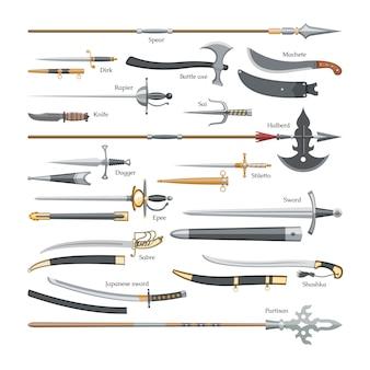 Mittelalterliche schwertwaffe des schwertes mit scharfer klinge und piratenmesserillustration breitschwertsatz der streitaxt oder des messerpunktes und des speers auf weißem hintergrund