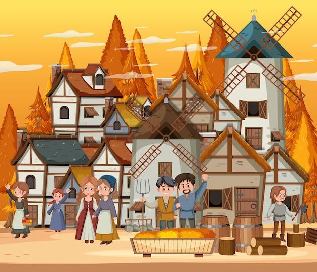 Mittelalterliche stadt bei sonnenuntergang mit dorfbewohnern