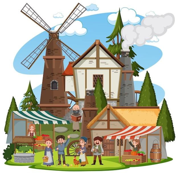 Mittelalterliche stadt mit windmühle und dorfbewohnern