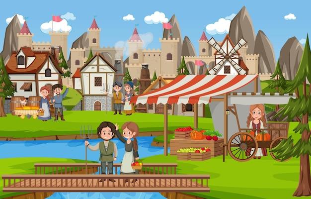 Mittelalterliche stadtszene mit dorfbewohnern